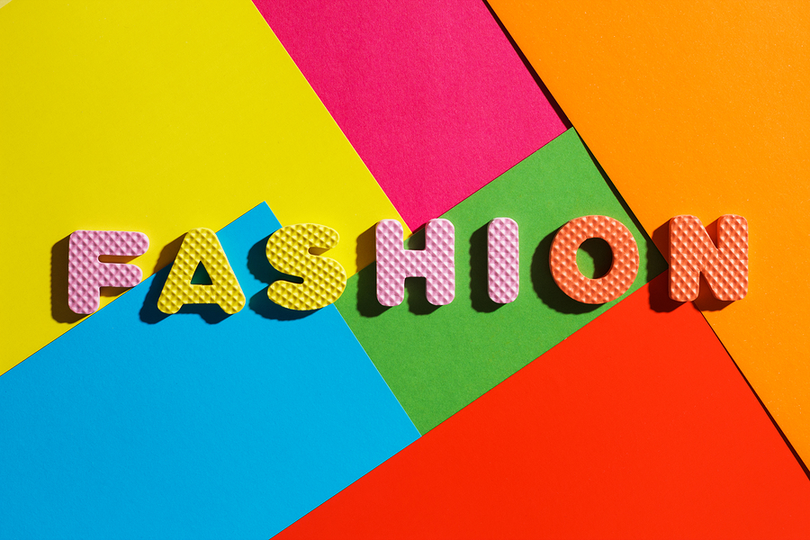 word fashion on different pieces of colorful paper